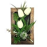 PietyDeko cornice 3D decorazione di fiori artificiali da tavolo o da parete sculture rose bianco