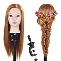 "26""-28"" Training Head Hairdressing Hair Styling Head Mannequin Head Cosmetology Manikin Doll Head Synthetic Hair with Free Clamp"