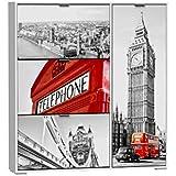 Suarez - Zapatero 3 baldas + compartimento london, medidas 120 x 24 x 129, color blanco