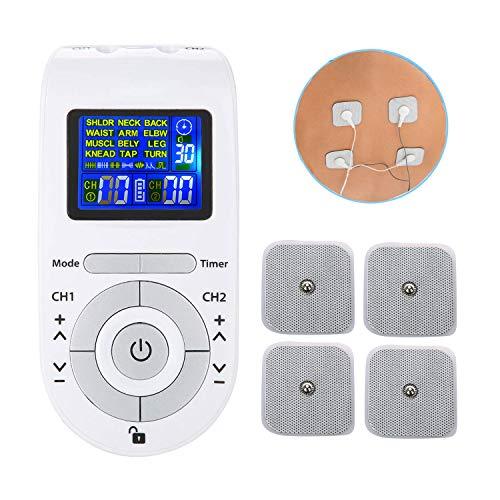 Schmerzelektrostimulator für TENS Schmerzlinderungseinheit mit 12 Modi 40 Intensität, für elektronische Therapie Schmerzmanagement, 4 Elektroden, Gürtelclip