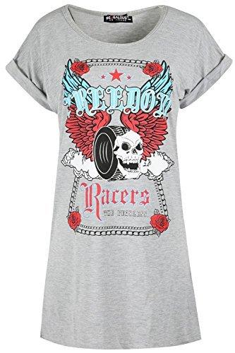 Oops Outlet Damen Rundhals Rock Freedom Renner Schädel Lang Übergröße Top Aufgerollter Ärmel Baggy T-shirt Kleid Grau