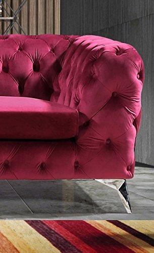 KAWOLA Sofa NARLA Chesterfield Stoff Rot 3-Sitzer B/T/H: 225x91x72cm