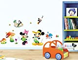 #6: SYGA Cute MIckey Minnie Mouse Dancing & Playing Decals Design Wall Stickers