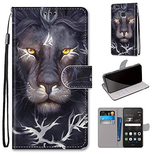 Miagon Flip PU Leder Schutzhülle für Huawei P9 Lite,Bunt Muster Hülle Brieftasche Case Cover Ständer mit Kartenfächer Trageschlaufe,Löwe König