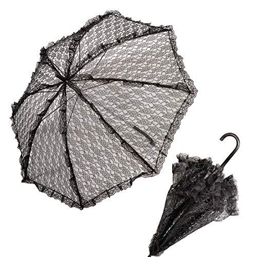 PARTY DISCOUNT Schirm aus Spitze, schwarz, ø 83 cm