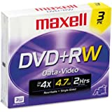 Maxell DVD+RW Discs 4.7GB 4x w/Jewel Cases Silver 3/Pack