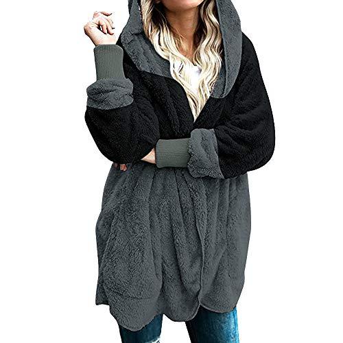 Yowablo Strickjacke Damen Cardigan Grobstrick mit Kapuze gefüttert Outwear Langarm für Herbst Winter Winterjacke (XXL,1- Schwarz)