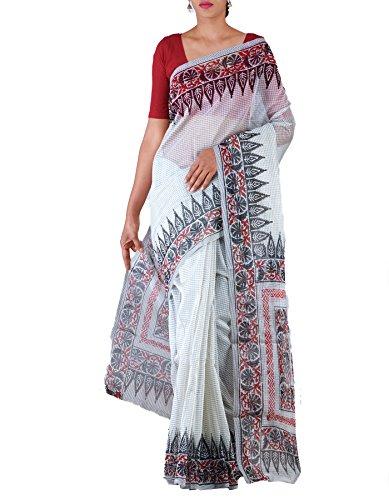 Unnati Silks Women Grey Banarasi Organza Saree with blouse piece,block printed elegant...