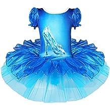 GenialES Danza del Ballet Gimnasia Leotardo Tutú Mini Falda Dibujo Crystal Zapatos Niñas 2-7 Años