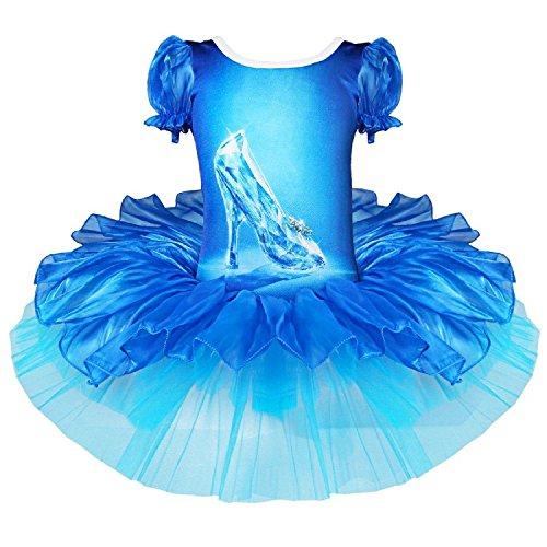 Costume Vestito Tutù Balletto Dancewear Body Ginnastica per Carnevale Halloween Danza per bambina da 2 a 7 anni