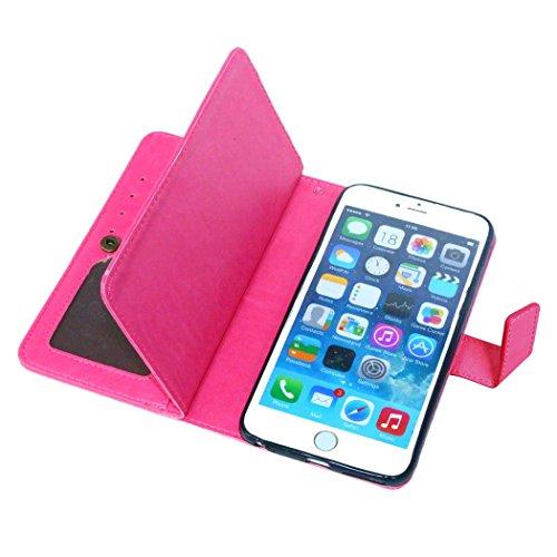 Etsue für iPhone 6 Plus/6S Plus Rose Rot Leder Schutzhülle Case, 9 Kartenfächern Retro Vintage Premium Wallet Book Stil Hülle Flip Case Magnetverschluss Standfunktion Ledertasche Case Tasche Silikon B Hot Pink