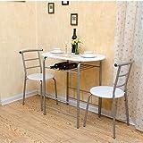 LJHA Klapptische und Stühle Paar Esstisch und Stuhl 1 Tisch und 2 Stühle 2 Farbe Optional Tabelle (Farbe : Weiß)