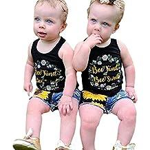 Zolimx Bambino, Ragazza, Ragazzo, Bambino Bambine Lettere Di Stampa Canotta Maglietta Floreale Denim Shorts Outfit Set
