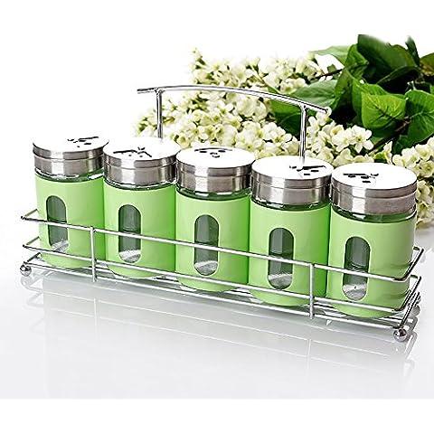 5pezzi condimento Box–Condimento porta spezie vasi–Contenitore Condimento vasetti