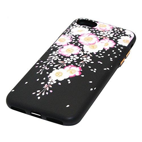 Coque iPhone 8 iPhone 7 Noir Arrière Étui avec Motif de Fleurs, Moon mood® Ultra Mince Souple TPU Silicone Coque de Protection pour Apple iPhone 7 4.7 pouces Soft Case Back Cover Bumper Slim Gel TPU D Style-9