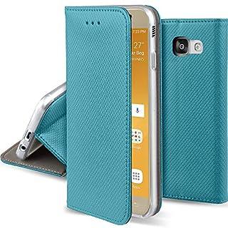Moozy Hülle Flip Case für Samsung A5 2017, Türkis - Dünne magnetische Klapphülle Handyhülle mit Standfunktion