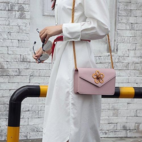 Frauen Arbeiten Pflaumenblüte Einzelne Schulter Messenger Kleine Quadratische Kette Umschlag Schnalle Rosa