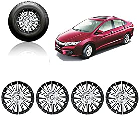Autorepute Full Wheel Cover Cap Silver & Black 15 Inches Press Type Fitting For -Honda City Ivtec