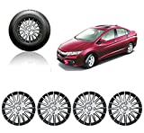 #2: Autorepute Full Wheel Cover Cap Silver & Black 15 Inches Press Type Fitting For -Honda City Ivtec
