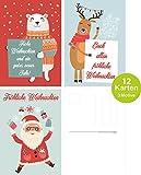 ArtUp.de 12 lustige Weihnachtskarten | Grußkarten Set mit 3 Motiven zu Weihnachten im Postkartenformat | im edlen feinen und nostalgischen Retro- und Vintage-Design