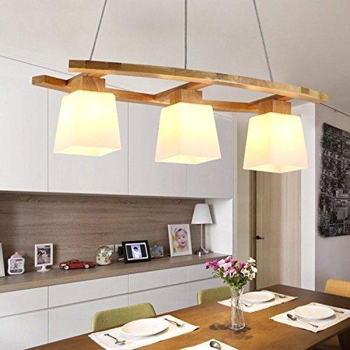 ZMH Pendelleuchte esstisch Pendellampe Holz und Glas Hängeleuchte 3 x LED E27/3W Hängelampe retro Deckenleuchte für Esszimmer/Wohnzimmer / Büro/cafe Leuchtmittel inklusiv