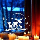 Fensterbild Elch & Rehe Fensterdeko Fensterbilder Winter + Sterne & Schneeflocken selbstklebend für Kinder M2261 ilka parey wandtattoo-welt®