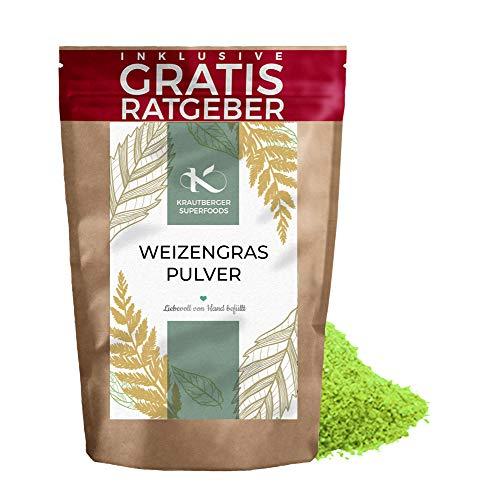 Weizengras Pulver 250g | Premium Weizengraspulver naturbelassen Krautberger Superfood ohne Zusätze I inkl. gratis Ratgeber Weizenpulver ohne Zusätze
