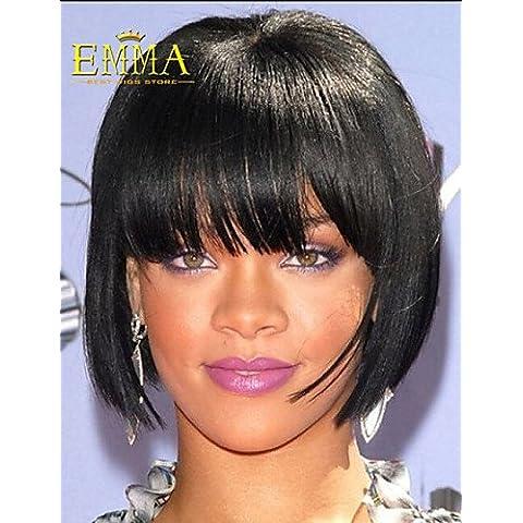 Pelucas de la manera conveniente y cómodo clásica peluca negro recta venta caliente populares bob peluca sintética peluca barato