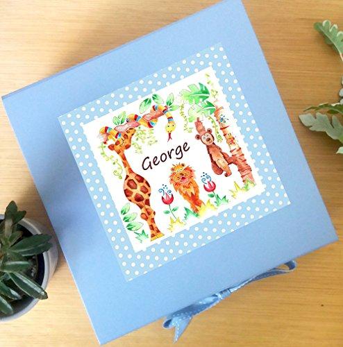 Personalisierte Andenkenschachtel, Box, für Jungen, Motiv: Dschungel/blau Andenken-Box Andenken-box Für Jungen