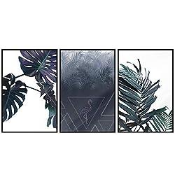 decomonkey | Poster 3er - Set schwarz-weiß Abstrakt Kunstdruck Wandbild Print Bilder Kunstposter Wandposter Posterset Monstera Flamingo Blätter Grün Palmen