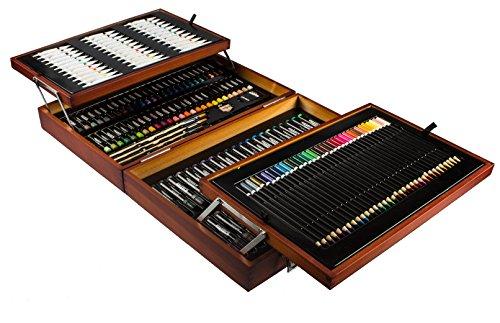Mont Marte Premium Malset Deluxe - 174-teilig - Hochwertiger Malkoffer aus Holz mit essentiellen Malmedien - Acryl-, Aquarell-, Öl-, Pastellfarben, Stifte, Pinsel und vieles mehr