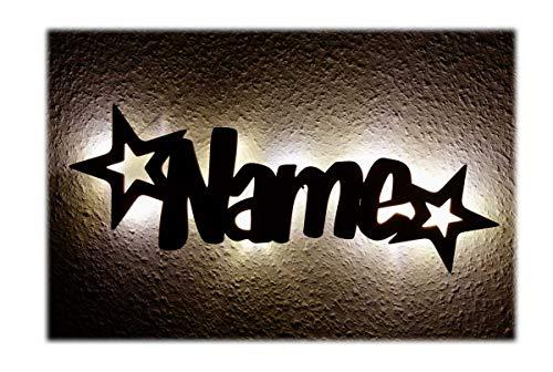 """Schlummerlicht24 Led Möbel Nacht-Lichter Lampe """"Stern-Funkeln"""" mit individuell-em Name-n Personalisiert-e Baby Geschenk-e zur Taufe Geburt Kommunion Kind-er Baby-s Junge-n Mädchen"""