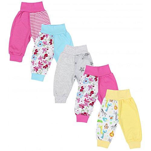 TupTam Unisex Baby Pumphose Jersey Schlupfhose 5er Pack, Farbe: Mädchen 4, Größe: 68