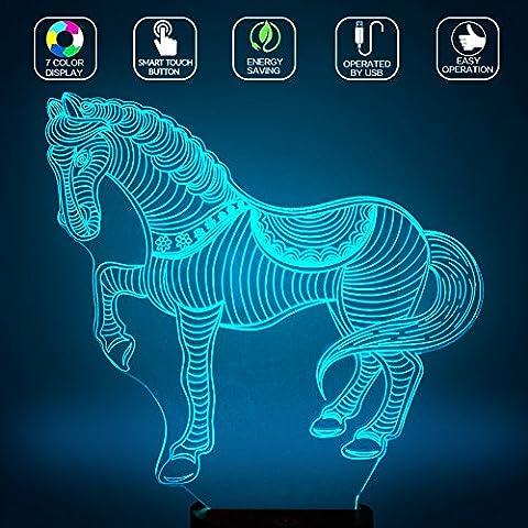 Cheval de zèbre 3D Lampes Illusions Optiques, FZAI Amazing 7