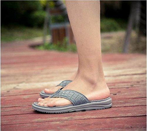 LXXA Mens Summer Beach Infradito Imitazioni Cinghie Di Cuoio Pelle Di Coccodrillo Scarpe Uomo Slipper gray