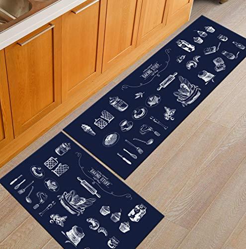 Rutschfeste Küchenmatte Maschine Waschbare Fußmatten Wasseraufnahme Und Öl Beweis Rechteck 3D Druck Dekor Bereich Teppich -2 Stück,D,60×90+60×180 -