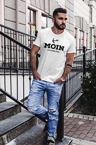 Neverless Herren T-Shirt Moin Hamburg Anker Slim Fit Moin Hamburg weiß