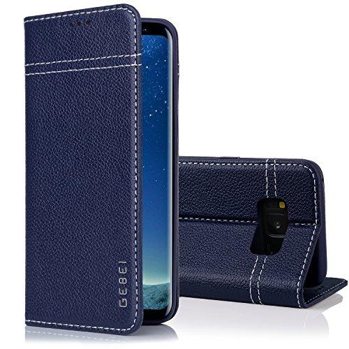 Samsung Galaxy S8 Handyhülle, Gebei Kriegsschiff Serie Echt Ledertasche Klapp-Handy Shell Schutzhülle mit unsichtbare Magnetknopf für Samsung Galaxy S8 (Blau)