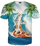 Pizoff unisex Herren T-Shirt Sommer Rundhalsausschnitt kurze Ärmel Surfen pizza katzen Muster in Mode Spaß Hip Hop bequeme Tops, Y1625-89, Gr. S(EU-XS)