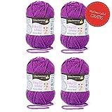 Baby Wolle violett * 4x Baby Smiles Merino Wool Schachenmayr (je 25g) * kuschelweiche Babywolle zum Stricken lila (Fb 1049) – pflegeleichtes Baby Garn – Wolle für Babys + GRATIS MyOma Label – Babygarn