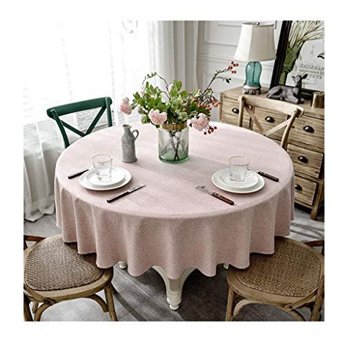 Qiao jin &Tischdecke Runde Tischdecke Einfache Moderne Baumwolle Leinen Haushalt Restaurant Tischdecke Hotel Einfarbig Dekoration Tischdecken Rosa Tischdecken (Farbe : A, größe : Round-200cm)