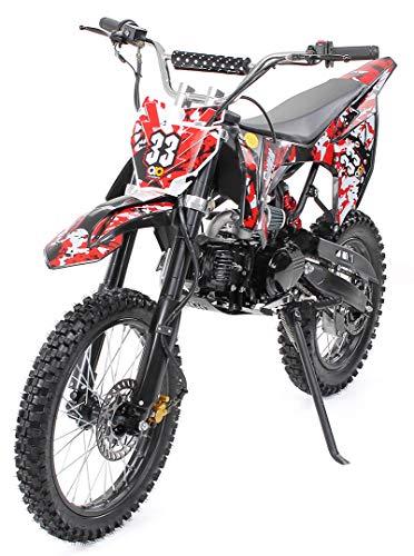 Kinder Jugend Crossbike Enduro Motocrossbike 125cc 4Takt Motocross Motorrad Cross 84cm Sitzhöhe für Jugendliche 17 Zoll Vorderrad (Schwarz)