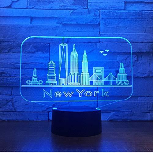Nuit Lumière Illusions Optiques 3D LED Lampe New York de 7 Couleurs Tactile Chevet Chambre Table Art Déco Enfant avec Cable USB pour Fille Fils Cadeau Anniversaire Surprise Deco Créatif Veilleuse