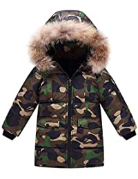 QJKai Inverno Ragazzi in Cotone Cappotti Giacca in Cotone Mimetico per  Bambini Sezione Media e Lunga 8a032fb0465