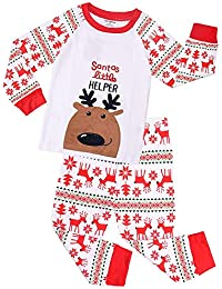 6bf02ab567d91 JIAJIA YL Garcon/Fille Noël Renne Pyjama Hiver Manches Longue Enfant  Vêtement de Nuit Imprimé Élan Costume Tops + Pantalon de Noël 2-7…