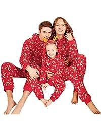 K-youth Conjunto de Familiares de Navidad Mujer Hombre Manga Larga Body Ciervo Bebé Niño Niña Mameluco Infantil Mono con Capucha Pijama Familia Ropa De Dormir Traje De Navidad