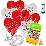 15 Herz Luftballons mit Helium Ballon Gas Motiv Herzen Hochzeit Valentinstag Komplettset + Gratis Doriantrade Seifenblasen