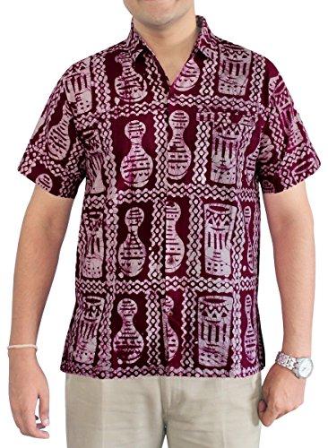 LA LEELA Strand Hawaiihemd Herren XS - 5XL Kurzarm Front-Tasche Hawaii-Print Casual Button Down Hemd Maroon Kastanienbraun
