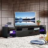 Modern High Gloss TV Unit Cabinet LED TV Stand Glass Shelves for Living Room (Black 160cm 2 Shelves)
