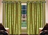 Home Creations Floral Door Curtain - Tbs-Sparkle-Dc7-Gr, Green (Set Of 2)